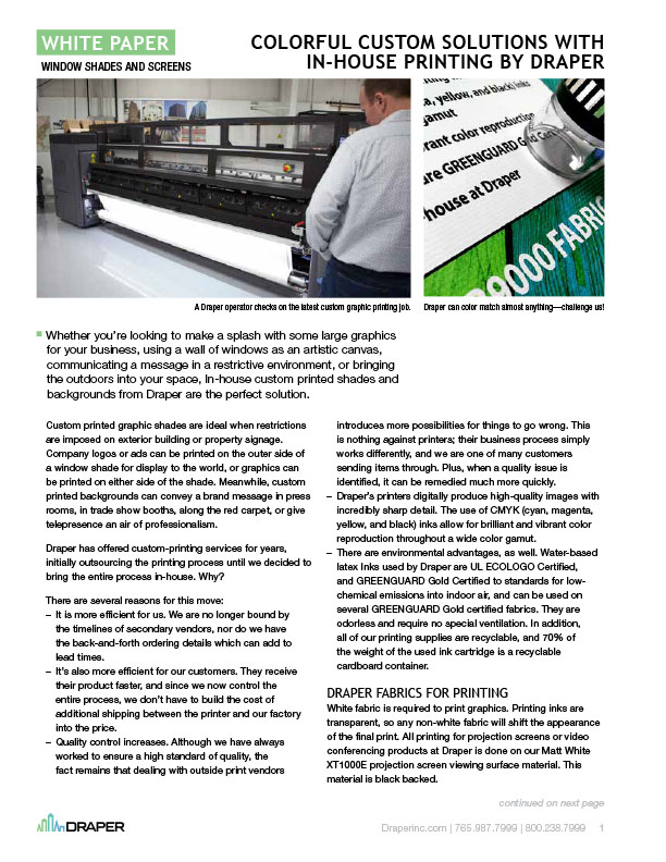 Draper Offers InHouse Printing